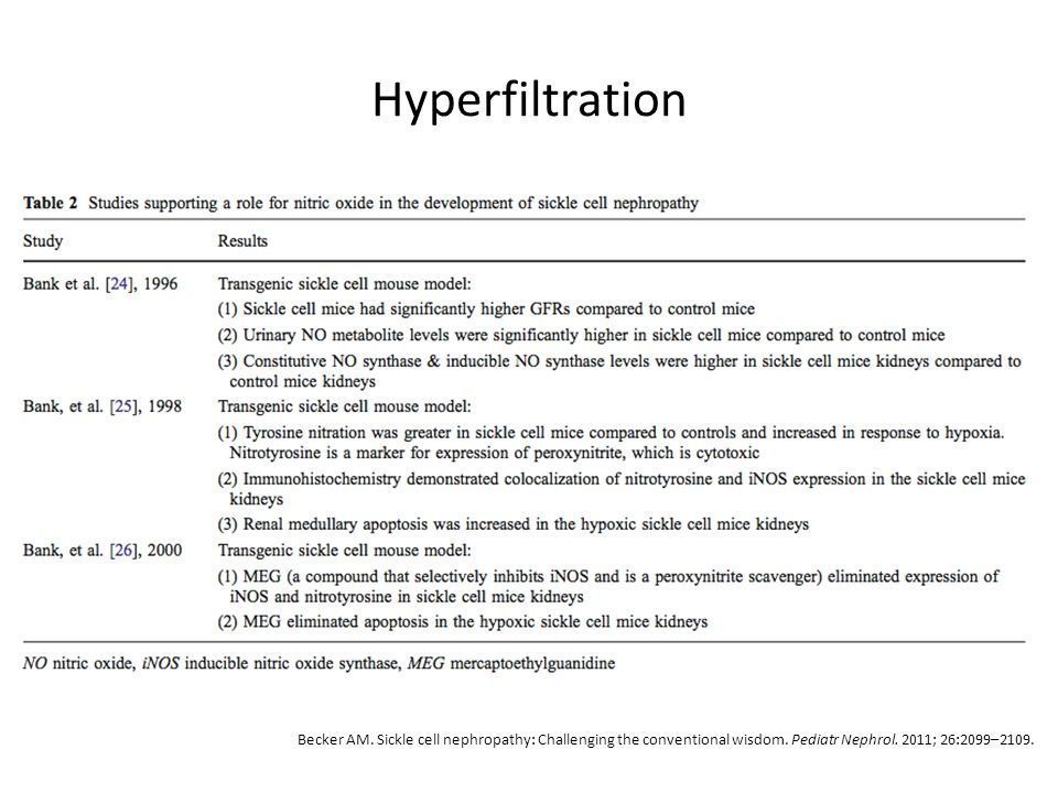 Hyperfiltration Becker AM. Sickle cell nephropathy: Challenging the conventional wisdom.