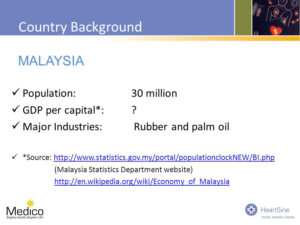 Country Background MALAYSIA Population: 30 million GDP per capital*: