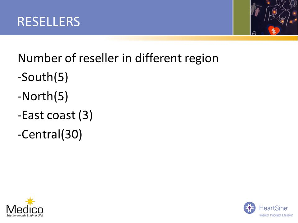 RESELLERS Number of reseller in different region -South(5) -North(5) -East coast (3) -Central(30)