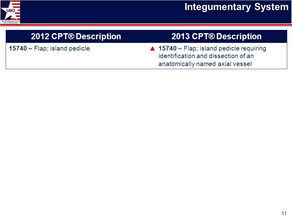 Integumentary System 2012 CPT® Description 2013 CPT® Description