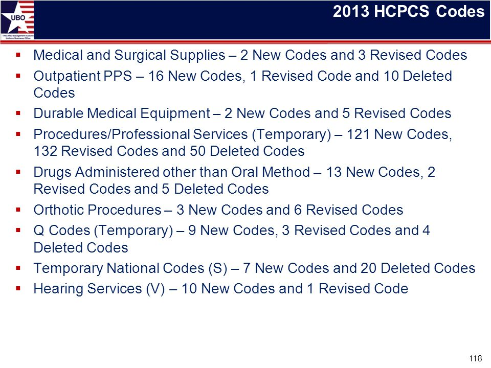 2013 HCPCS Codes Medical and Surgical Supplies – 2 New Codes and 3 Revised Codes. Outpatient PPS – 16 New Codes, 1 Revised Code and 10 Deleted Codes.