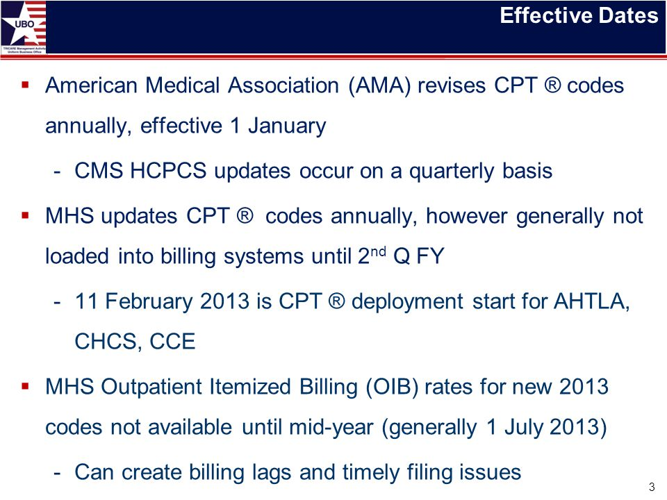 Effective Dates American Medical Association (AMA) revises CPT ® codes annually, effective 1 January.