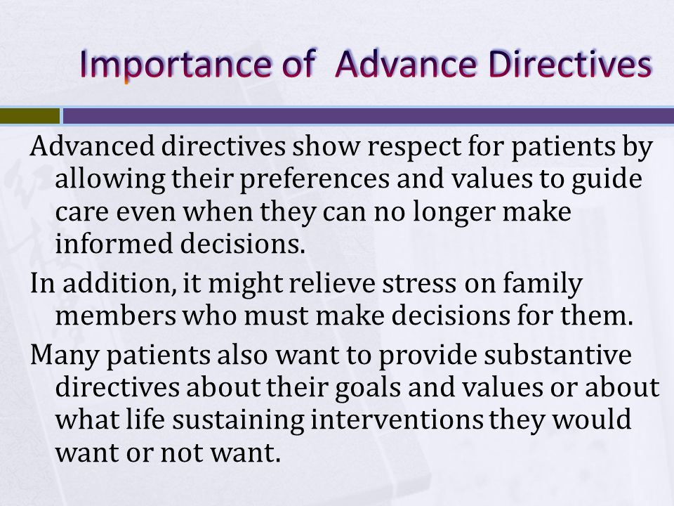 Importance of Advance Directives