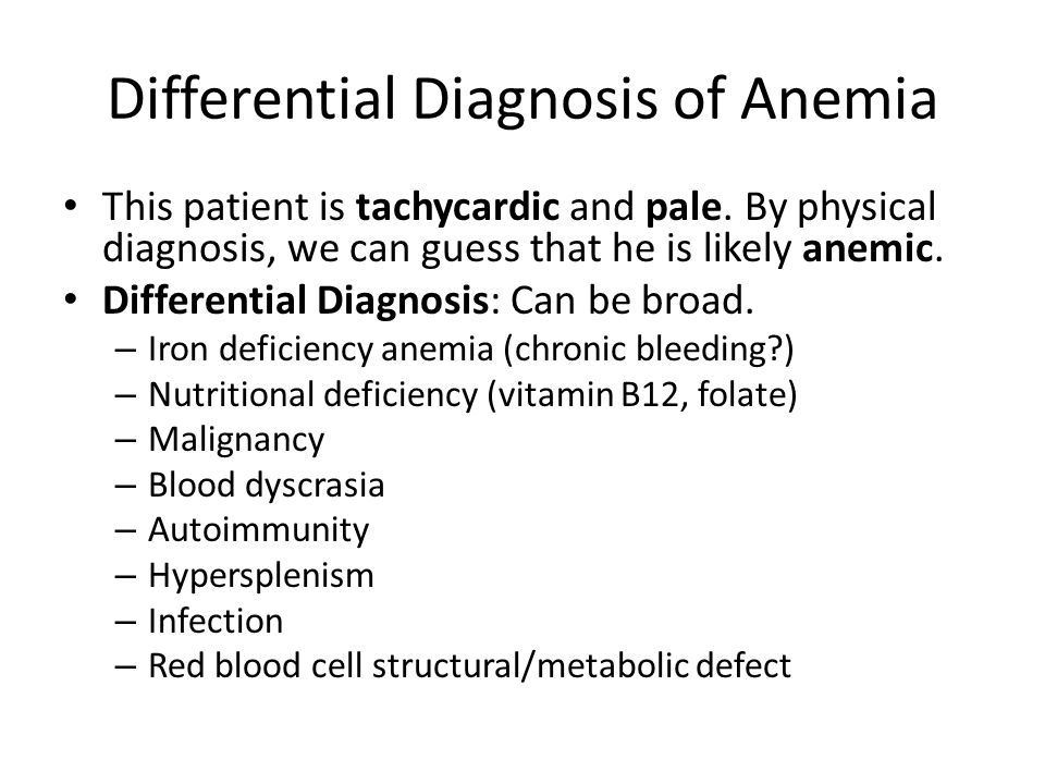 Differential Diagnosis of Anemia
