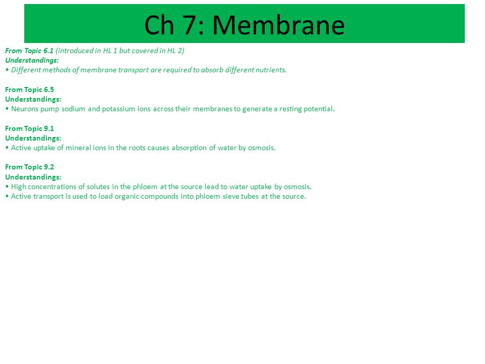Ch 7: Membrane From Topic 6.1 (introduced in HL 1 but covered in HL 2)
