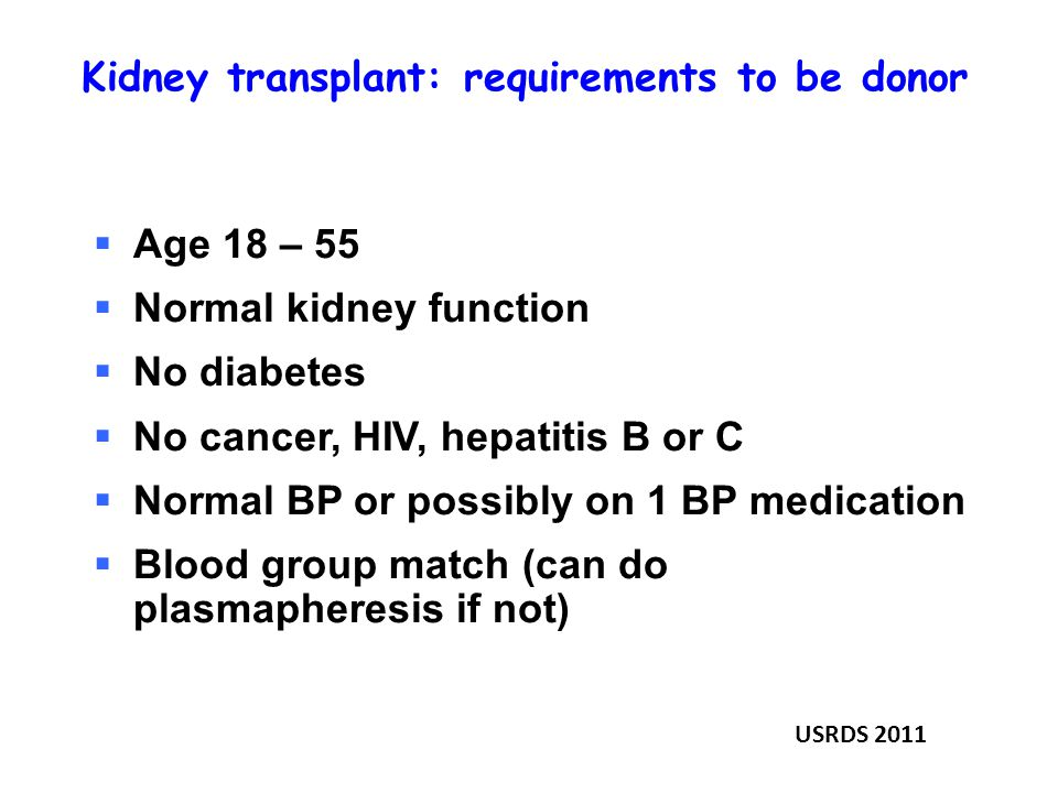 Kidney transplant: requirements to be donor