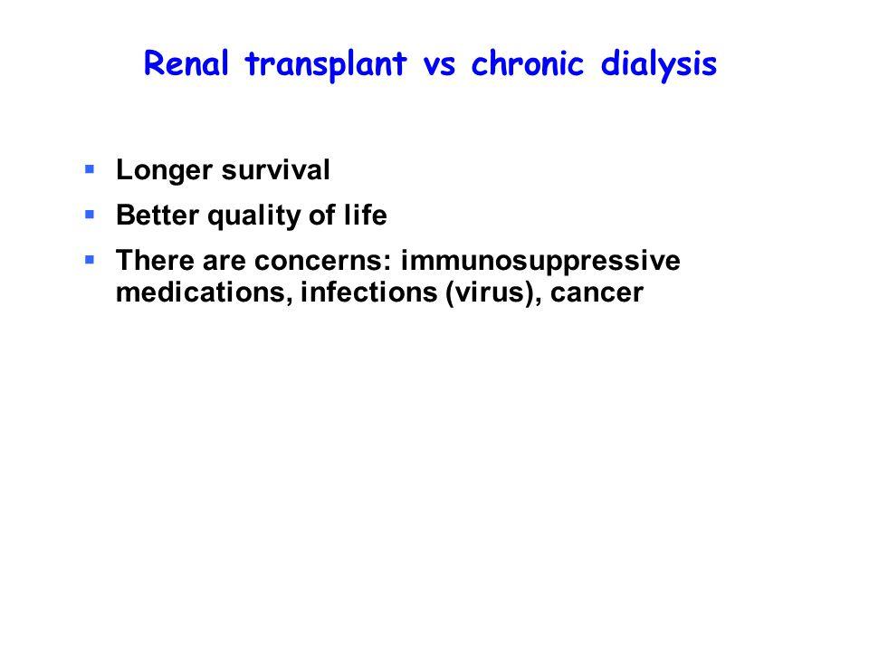 Renal transplant vs chronic dialysis