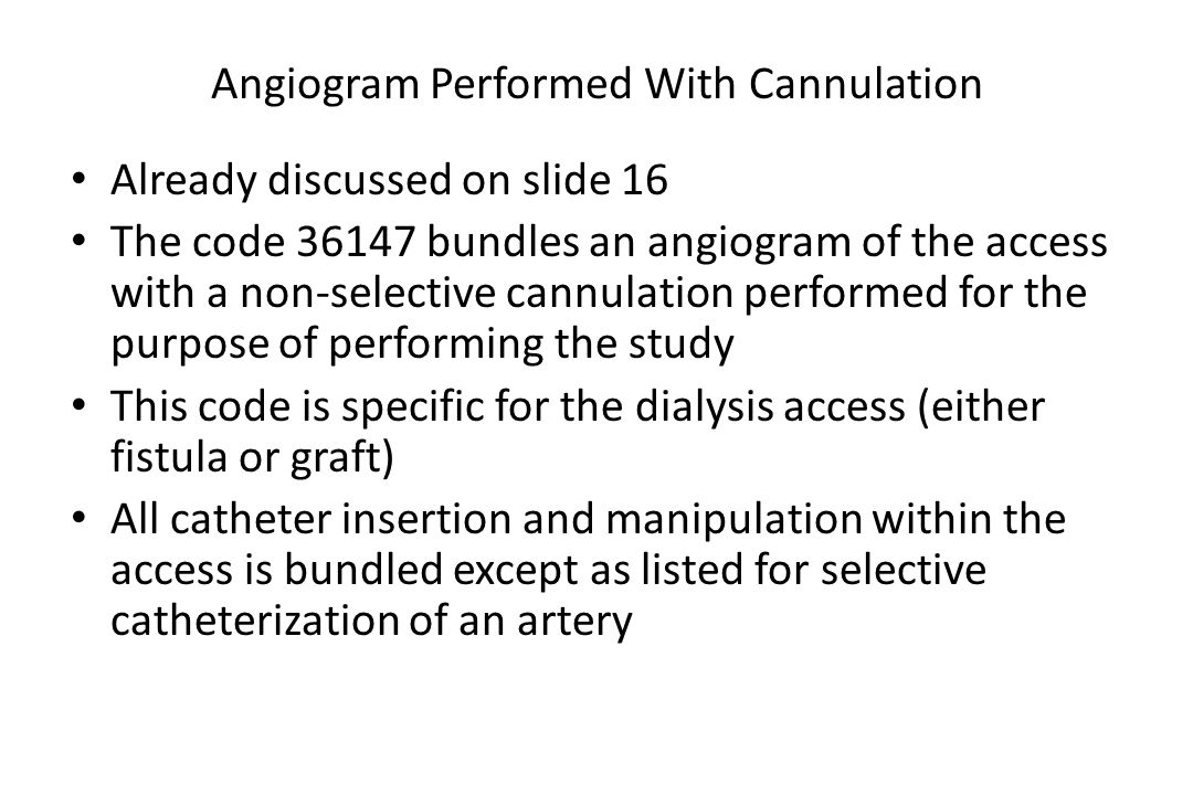 Angiogram Performed With Cannulation