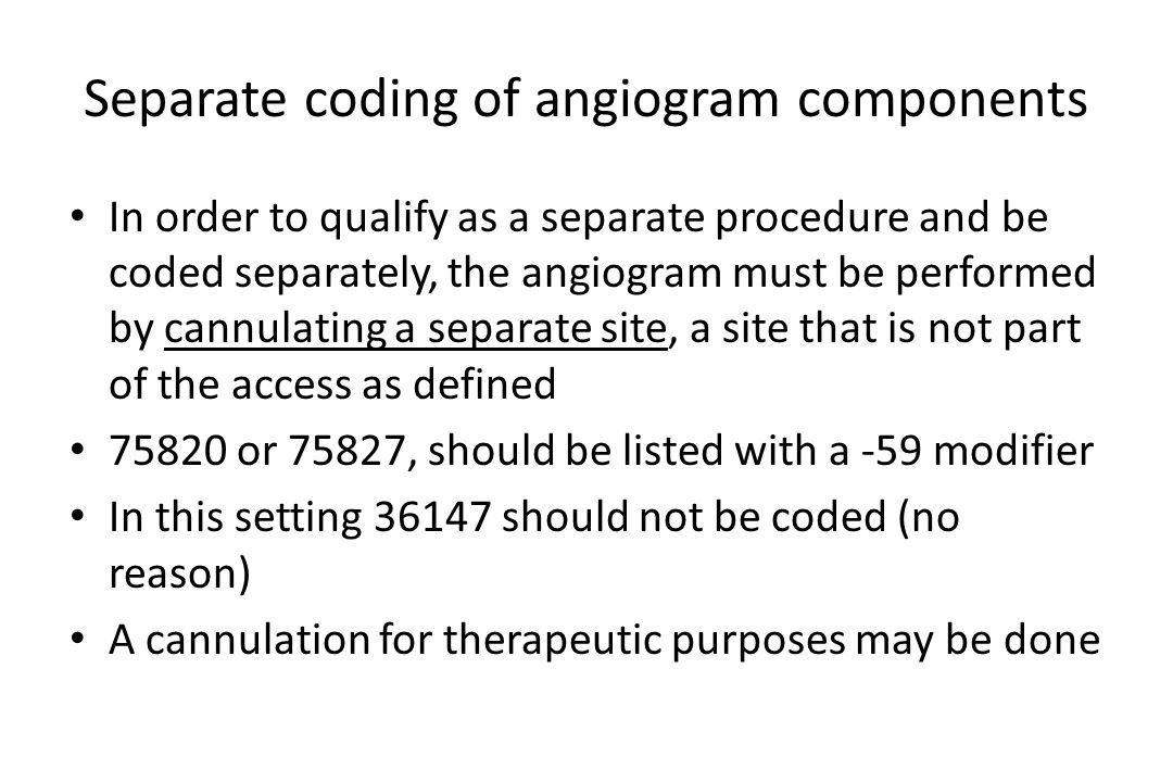Separate coding of angiogram components