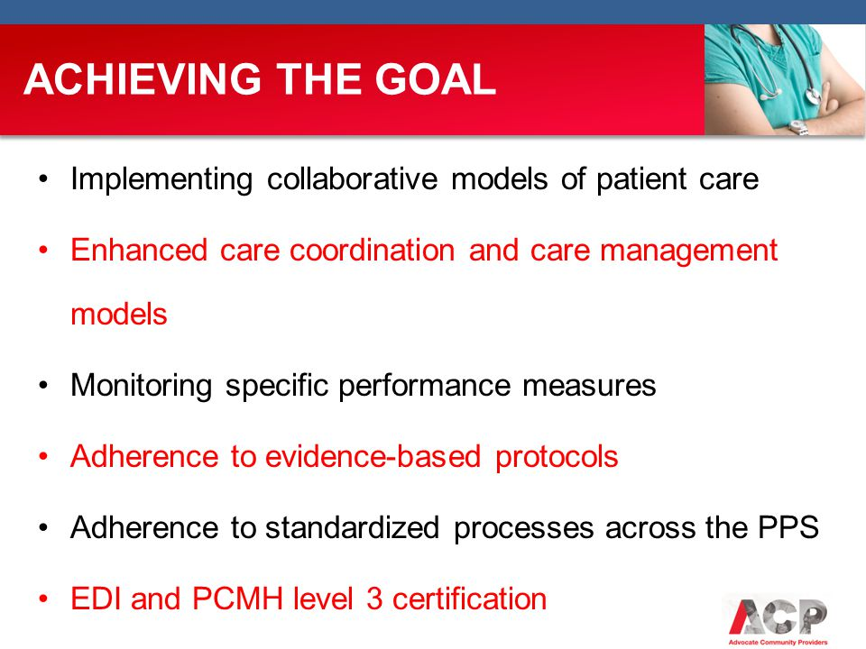 ACHIEVING THE GOAL Implementing collaborative models of patient care