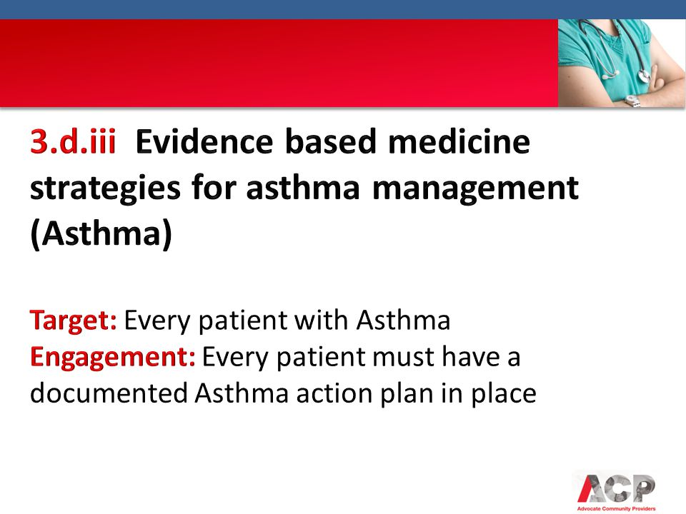 3.d.iii Evidence based medicine strategies for asthma management (Asthma)