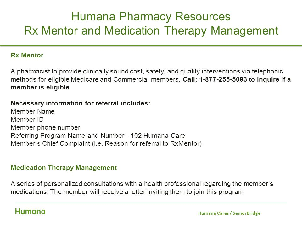 Humana Pharmacy Resources Rx Mentor and Medication Therapy Management