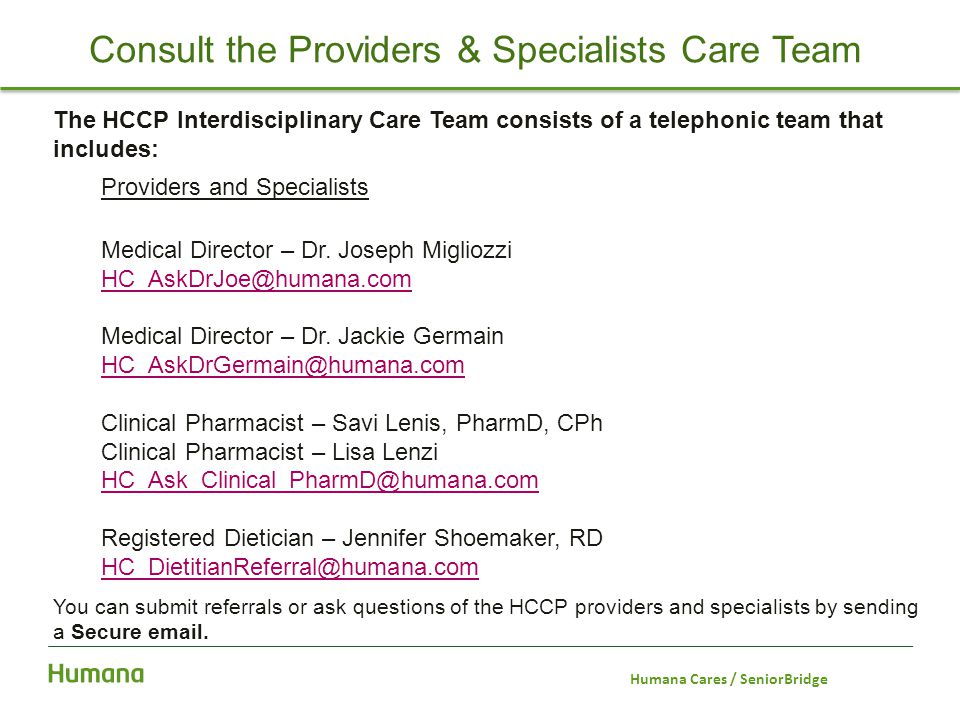 Consult the Providers & Specialists Care Team