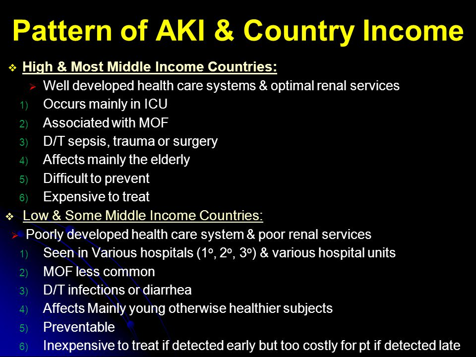 Pattern of AKI & Country Income