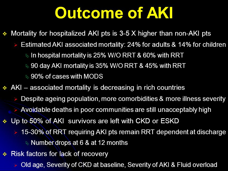 Outcome of AKI Mortality for hospitalized AKI pts is 3-5 X higher than non-AKI pts.
