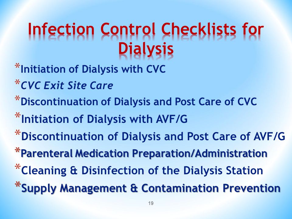 Infection Control Checklists for Dialysis