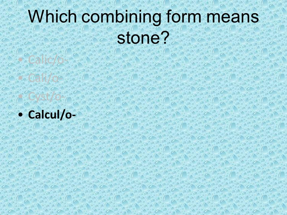 Which combining form means stone