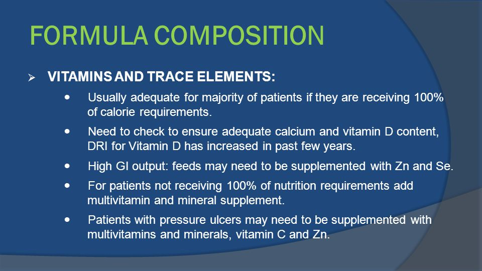 FORMULA COMPOSITION VITAMINS AND TRACE ELEMENTS: