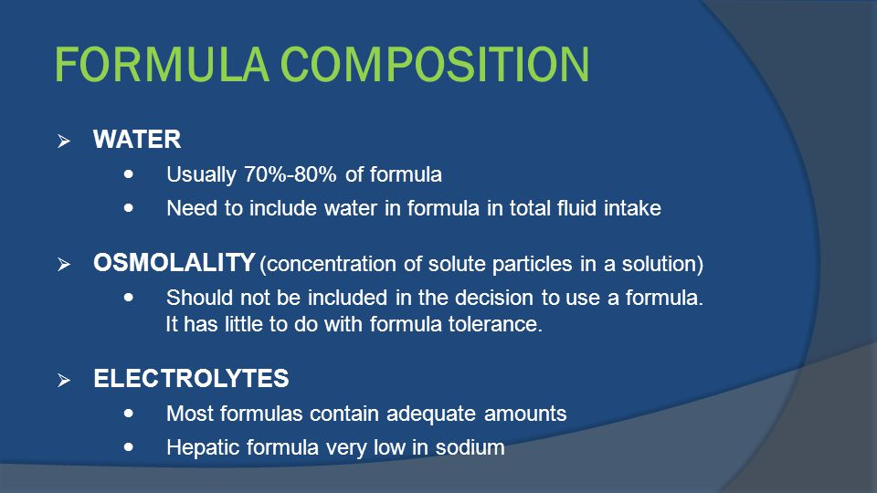 FORMULA COMPOSITION WATER
