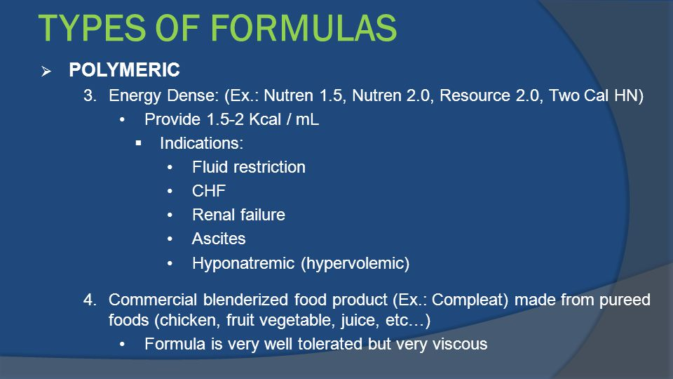 TYPES OF FORMULAS POLYMERIC