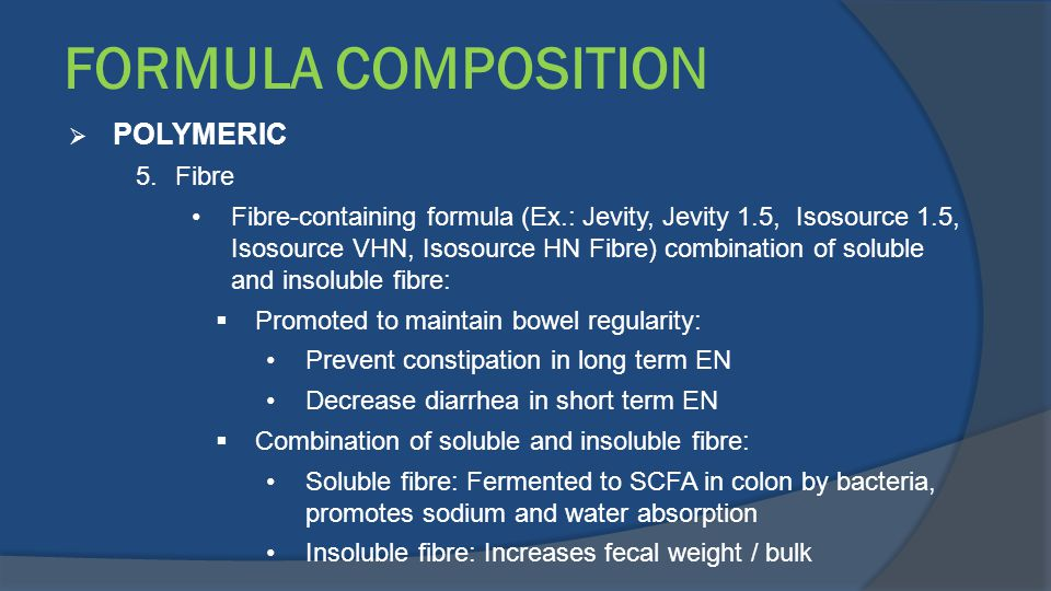 FORMULA COMPOSITION POLYMERIC Fibre