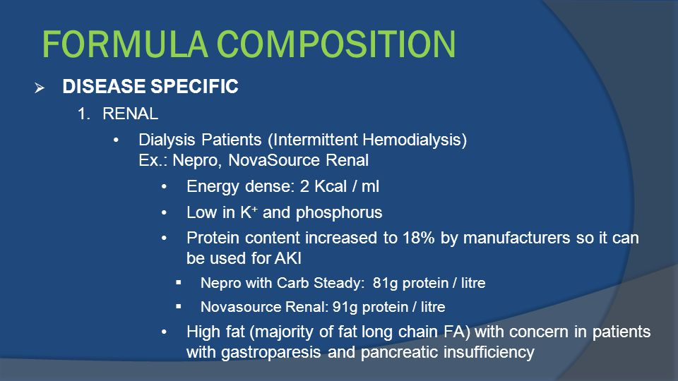 FORMULA COMPOSITION DISEASE SPECIFIC RENAL