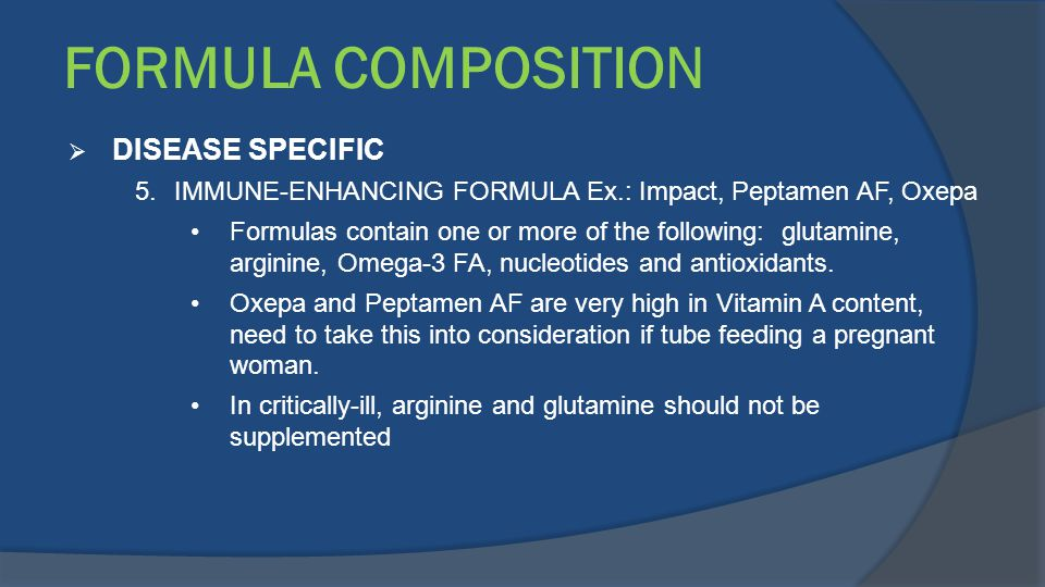 FORMULA COMPOSITION DISEASE SPECIFIC