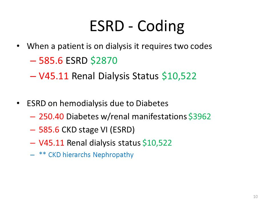 ESRD - Coding 585.6 ESRD $2870 V45.11 Renal Dialysis Status $10,522