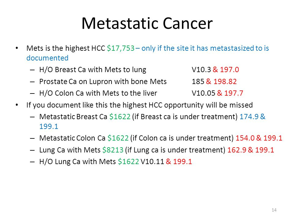 Metastatic Cancer Mets is the highest HCC $17,753 – only if the site it has metastasized to is documented.