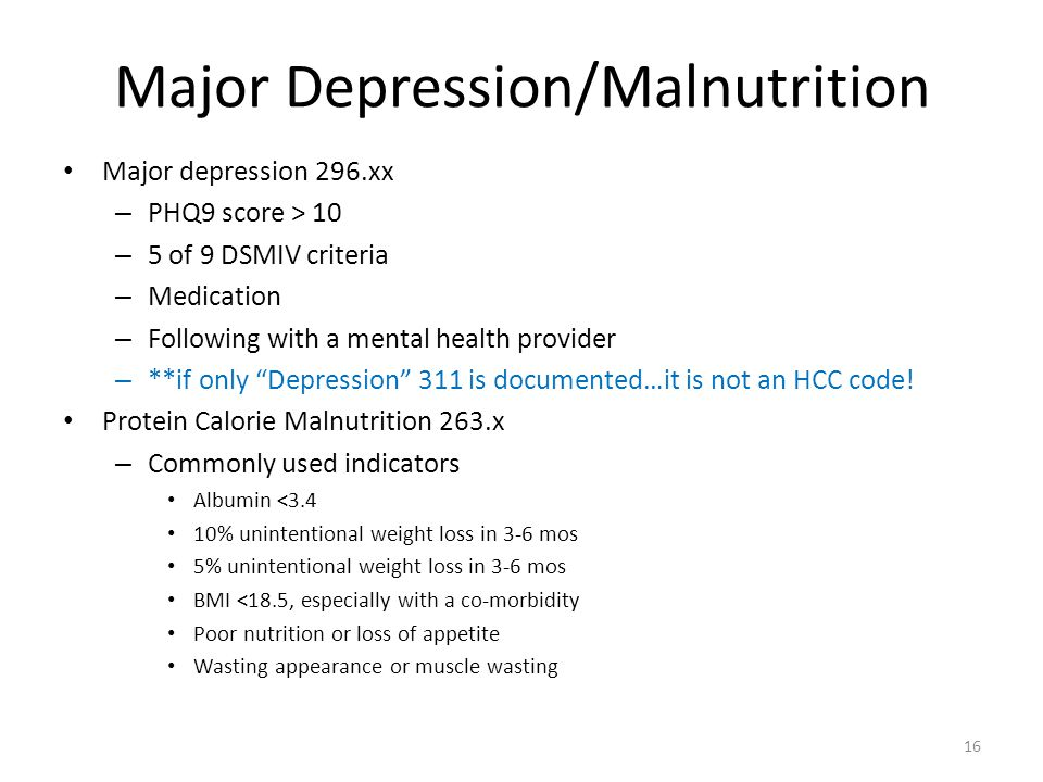 Major Depression/Malnutrition