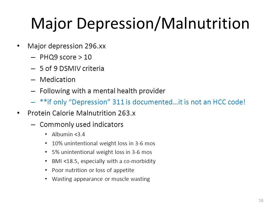 Major Depression/Malnutrition