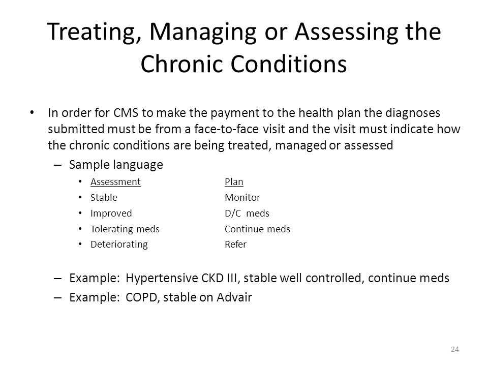 Treating, Managing or Assessing the Chronic Conditions