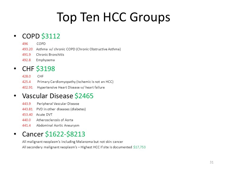 Top Ten HCC Groups COPD $3112 CHF $3198 Vascular Disease $2465