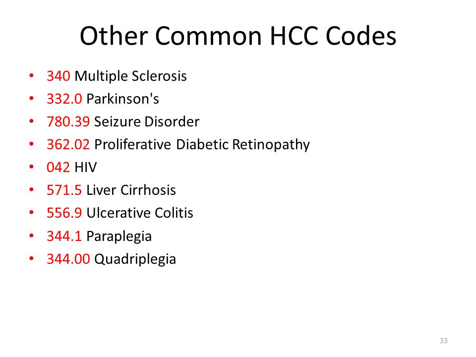 Other Common HCC Codes 340 Multiple Sclerosis 332.0 Parkinson s