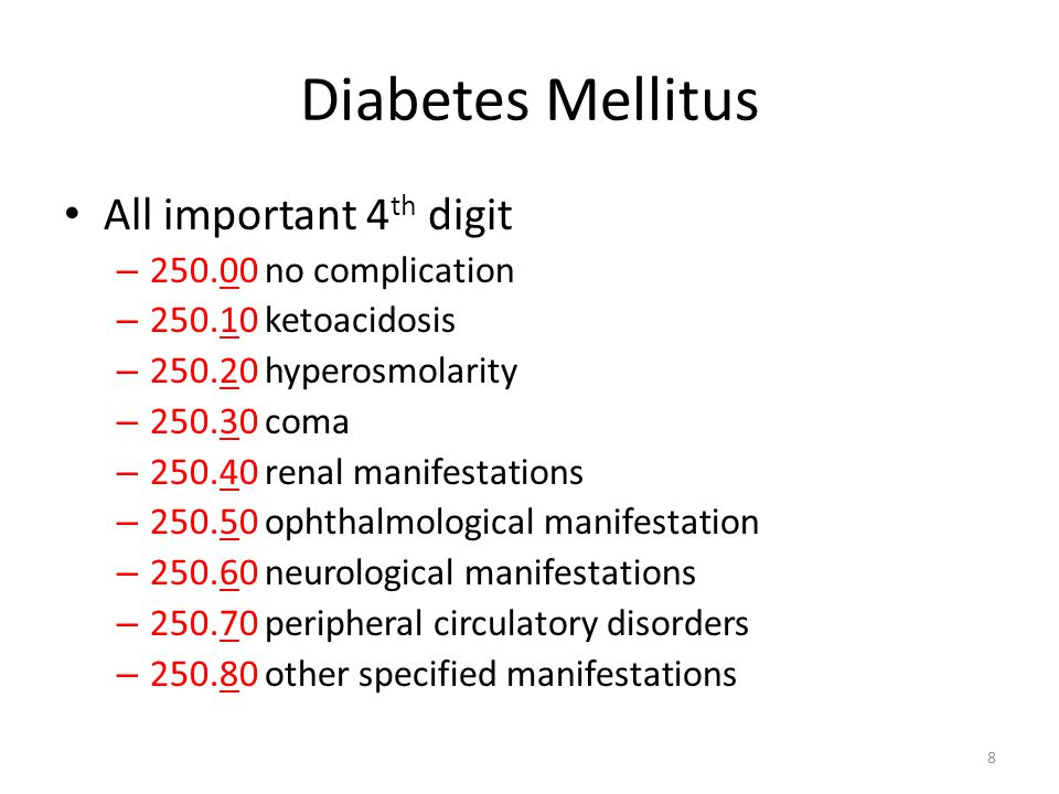 Diabetes Mellitus All important 4th digit 250.00 no complication