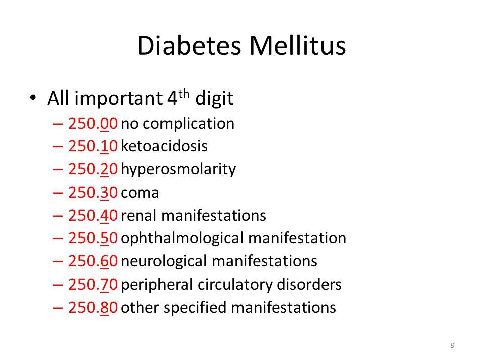 Diabetes Mellitus All important 4th digit 250.00 no complication