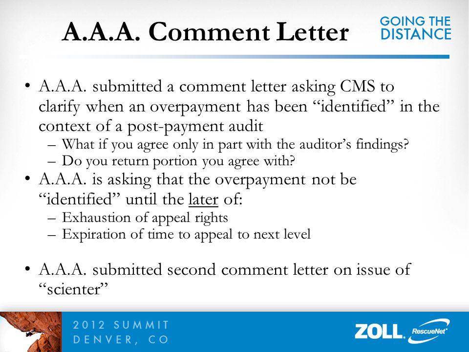 A.A.A. Comment Letter