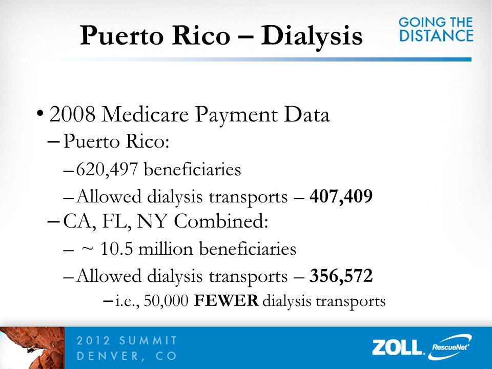 Puerto Rico – Dialysis 2008 Medicare Payment Data Puerto Rico: