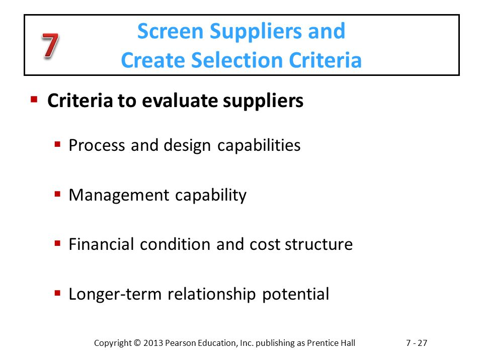 Screen Suppliers and Create Selection Criteria