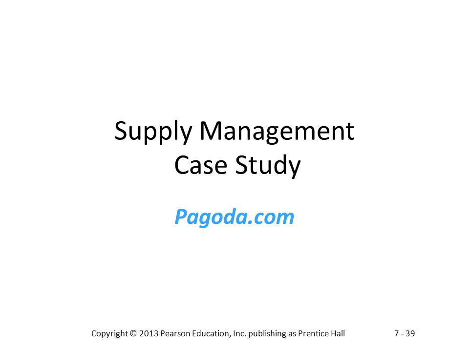 Supply Management Case Study