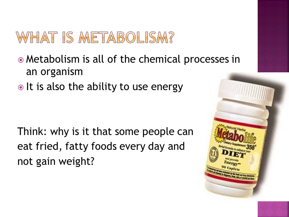 What is metabolism Metabolism is all of the chemical processes in an organism. It is also the ability to use energy.