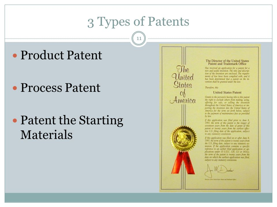 3 Types of Patents Product Patent Process Patent