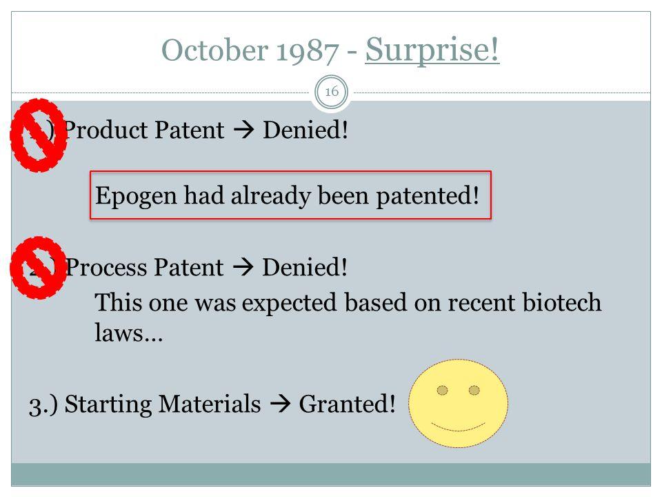 October 1987 - Surprise!