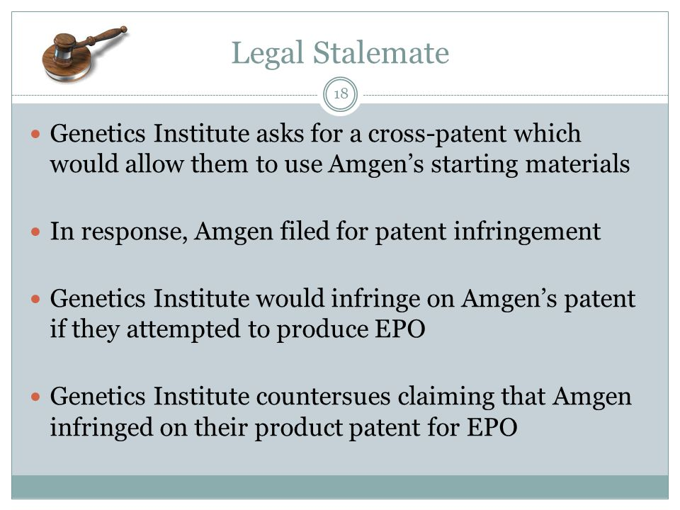 Legal Stalemate Genetics Institute asks for a cross-patent which would allow them to use Amgen's starting materials.