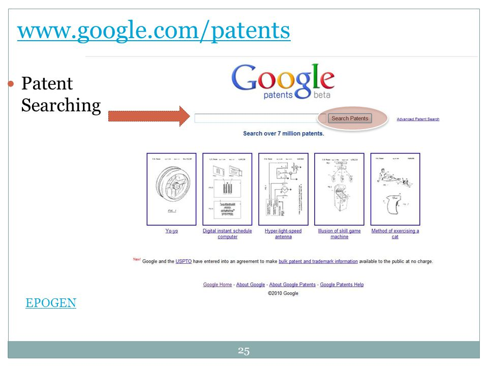 www.google.com/patents Patent Searching EPOGEN