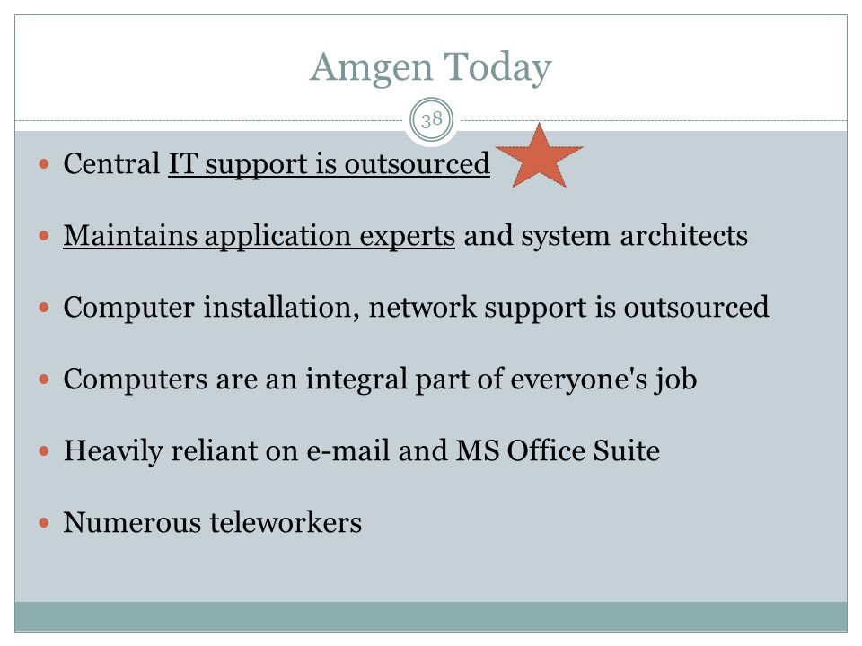 Amgen Today Central IT support is outsourced