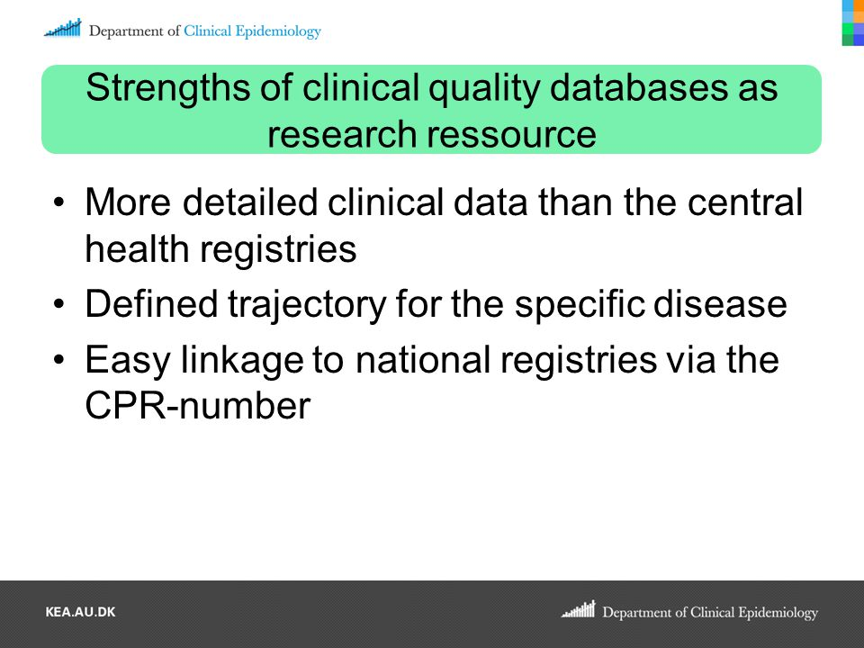 Strengths of clinical quality databases as research ressource