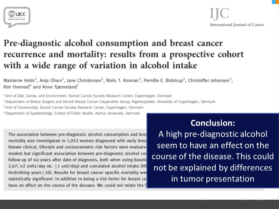 Conclusion: A high pre-diagnostic alcohol seem to have an effect on the course of the disease.