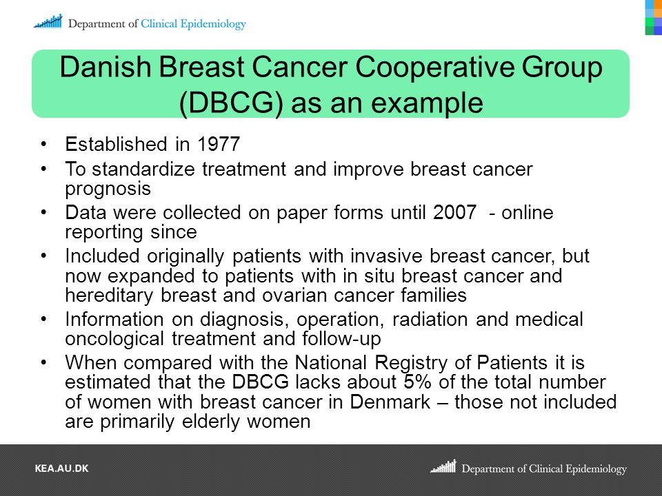 Danish Breast Cancer Cooperative Group (DBCG) as an example