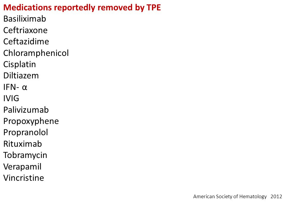 Medications reportedly removed by TPE Basiliximab Ceftriaxone